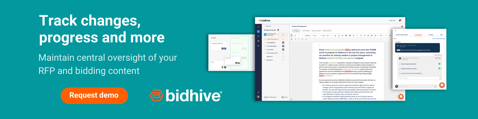 Track changes and progress with Bidhive